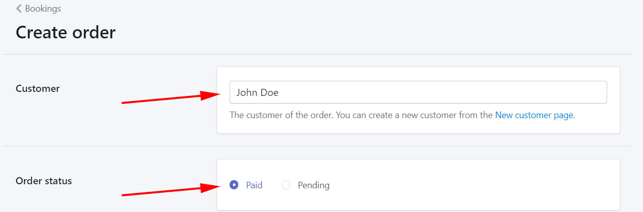Order status example