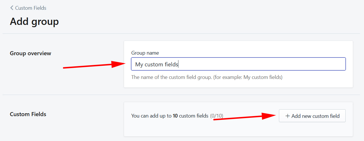 New custom field group example